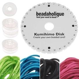Kumihimo Braiding Kit 'Neon Mix'- Round Disc / Bobbins / 4 Color Satin 1mm Cord