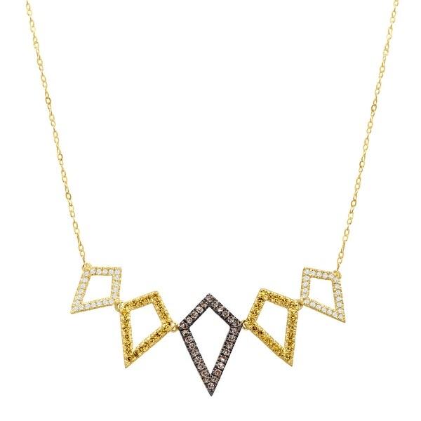 3/8 ct Brown, Yellow & White Diamond Geometric Garl& Necklace in 10K Gold