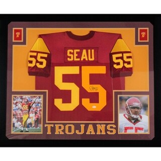 Junior Seau USC Autographed Red Signed Football Framed Jersey JSA COA