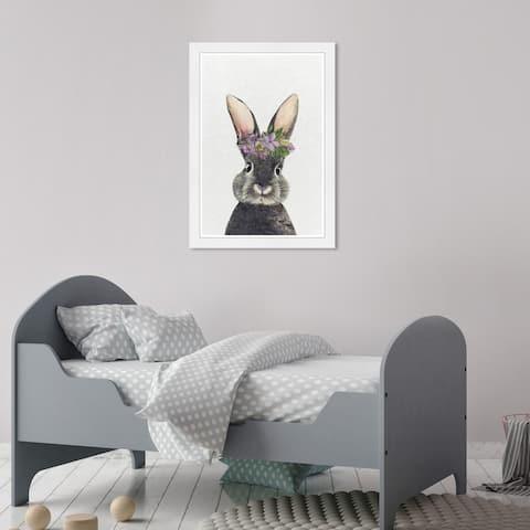 Olivia's Easel 'Floral Bunny' Kids Wall Art Framed Print Gray, Purple