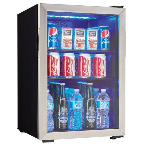 "Danby DBC026A1 18"" Wide 95 Can Capacity Free Standing Beverage Center with LED Lighting - - Black / Stainless Steel"