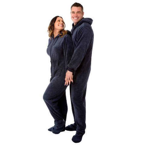 Navy Blue Hooded Plush Adult Mens Footed Pajamas Sleeper w/ Drop Seat