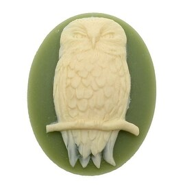 Vintage Style Lucite Oval Cameo Olive Green With Ivory Perched Owl 40x30mm (1)