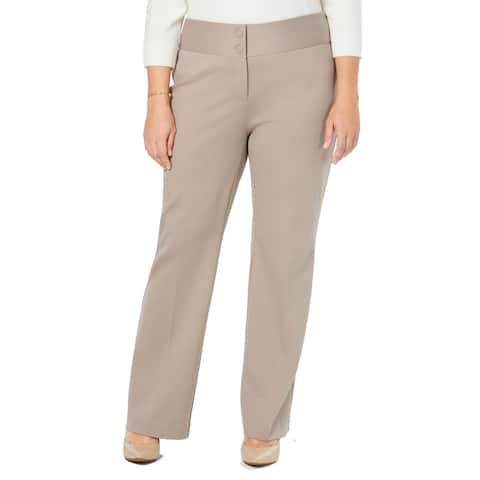 Alfani Women Dress Pants Taupe Beige Size 20W Plus Tummy Control Stretch