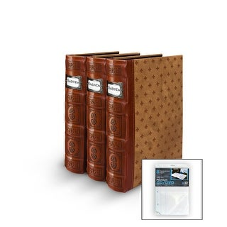Bellagio-Italia DVD/CD Storage Tuscany Cognac Binder 3-Pack with Insert Sheets
