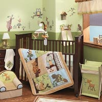 Lambs & Ivy Enchanted Forest Beige/Blue/Green Woodland Animal Nursery 6-Piece Baby Crib Bedding Set