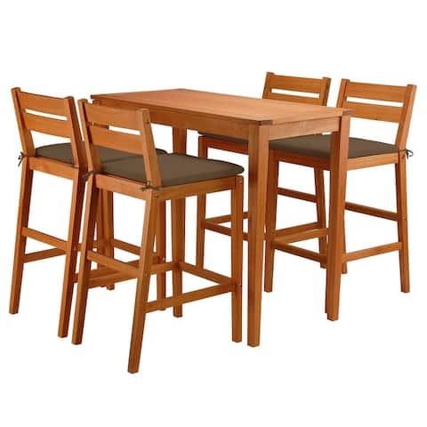 5-Piece Eucalyptus Grandis Wood Bar Table Set, Chocolate