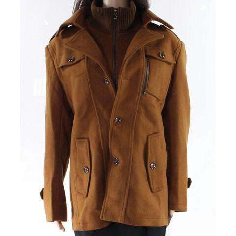 Designer Brand Brown Womens Large L Layered Look Multi-Pocket Coat