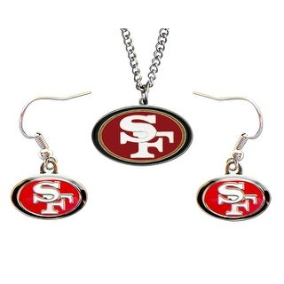 SAN Francisco 49ers Necklace and Dangle Earring Charm Set NFL