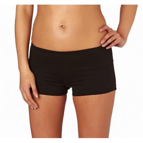 Seafolly Womens Swimwear Deep Black Size 6 Solid Boy Shorts Pull-On