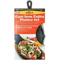Mr Bar-B-Q 06108X Cast-Iron Ribbed Fajita Platter Set