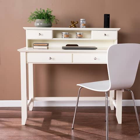 Copper Grove Barton Transitional White Wood Secretary Desk