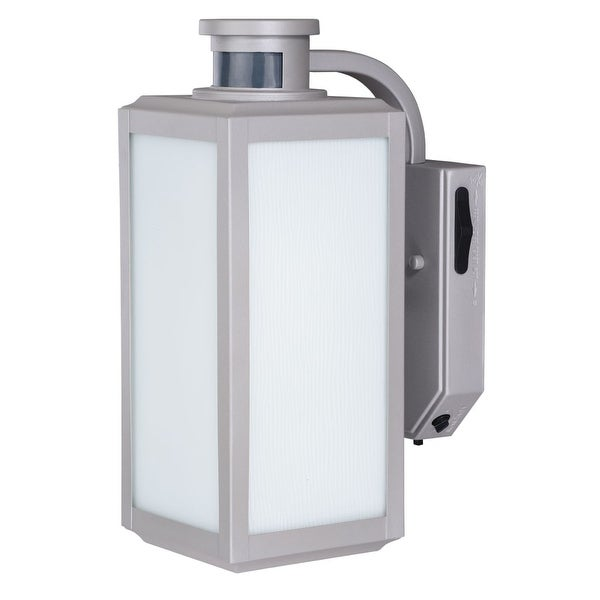 """Vaxcel Lighting T0213 Rand 1-Light 13"""" Tall Photocell and Motion Sensor Outdoor Wall Sconce with White Glass Shade"""