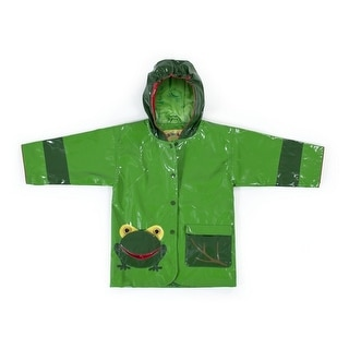 Kidorable Little Boys Green Two Tone Frog Pocket Hooded Rain Coat 2T-6X