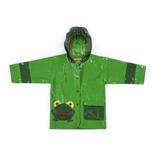 Kidorable Little Boys Green Two Tone Frog Pocket Hooded Rain Coat 2T-6X (More options available)