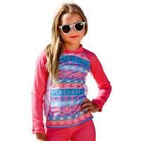 Sun Emporium Little Girls Coral Pink Long Sleeve Rash Guard