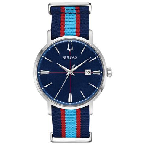Bulova Men's 96B315 Aerojet Stainless Blue Dial Nato Strap Watch - Silvertone