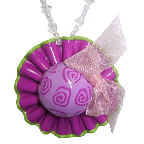 Purple & Lime Beaded Hat Christmas Ornament #W5358