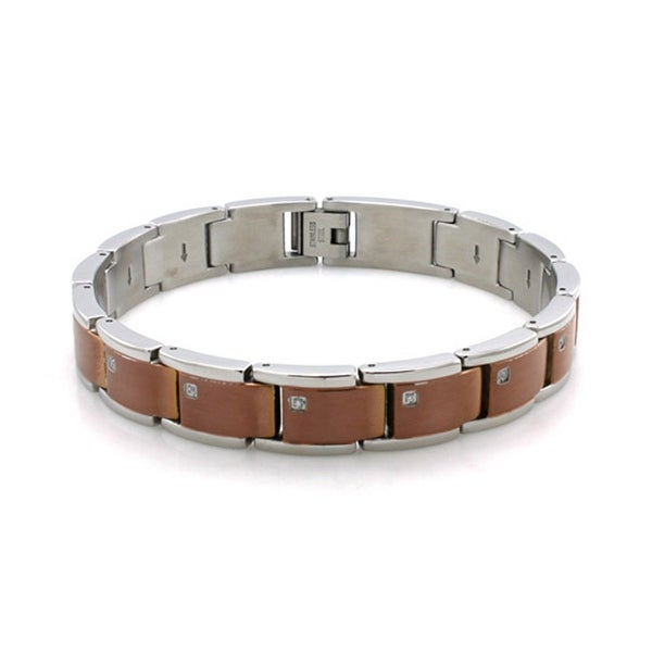 Two-Tone Stainless Steel Coffee Color Bracelet w/ Cubic Zirconia - 9 inches