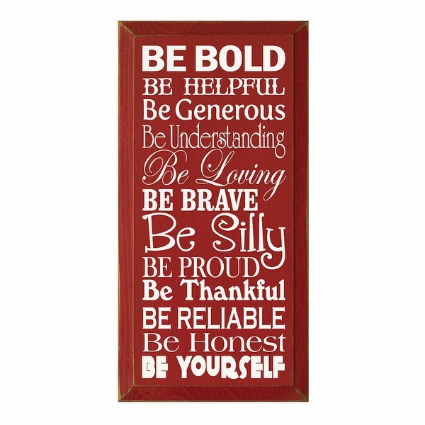 Be Bold Red And White Wooden Wall Plaque