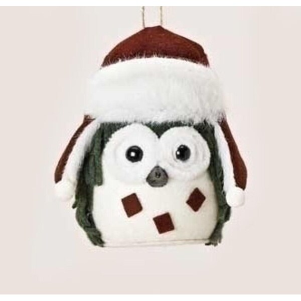 "5.25"" Rustic Owl Plush Christmas Ornament with Faux Fur Trimmed Hat - RED"