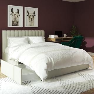Link to Novogratz Brittany Upholstered Bed with Storage Drawers Similar Items in Bedroom Furniture