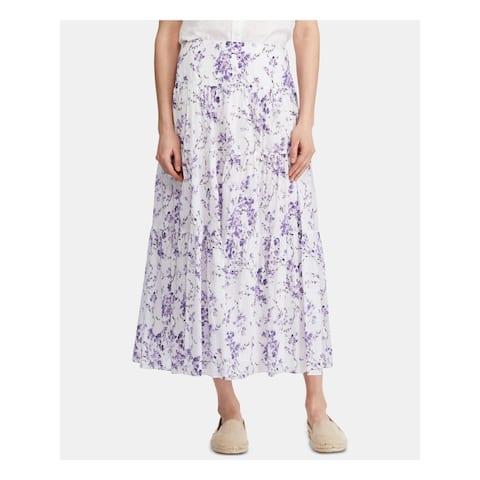 RALPH LAUREN Womens Purple Floral Tea-Length Pleated Skirt Size 4