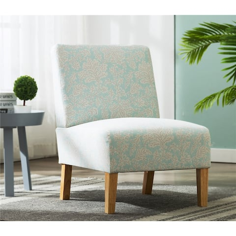 Classical Blue Flower Fabric Accent Chair Living Room Armless Chair