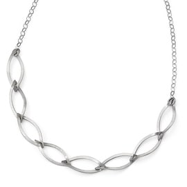 Italian Sterling Silver Brushed with 2in ext. Necklace - 18.5 inches