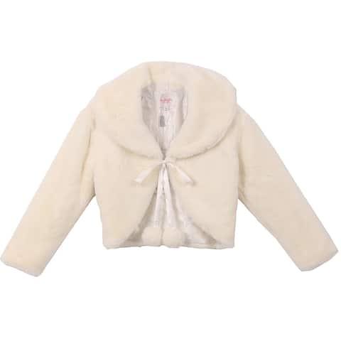 Beautiful Long Sleeve Soft Winter Fur Coat Jacket Ivory CC3011