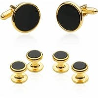 Tuxedo Cufflinks And Studs Black Onyx With Gold Tone