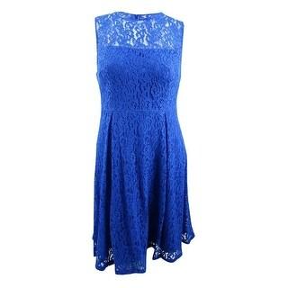 Calvin Klein Women's Sleeveless A-Line Lace Dress (12, Capri) - Capri - 12