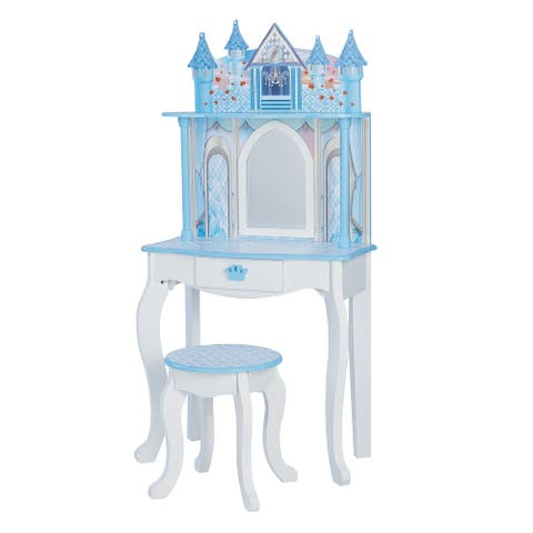 Teamson Kids - Dreamland Castle Play Vanity Set - White / Ice Blue