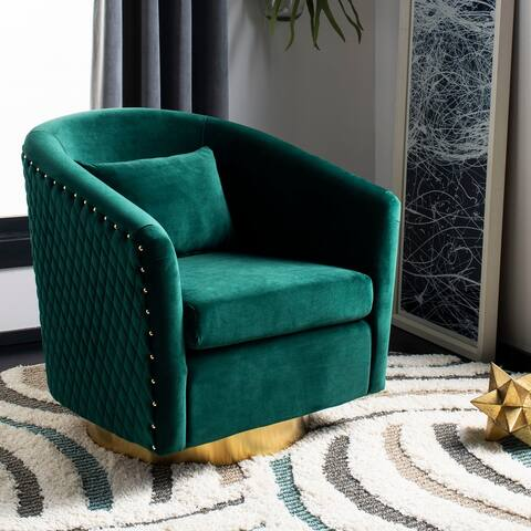 "Safavieh Couture Clara Quilted Swivel Tub Chair- Emerald / Gold - 29.9""x31.7""x29.7"""