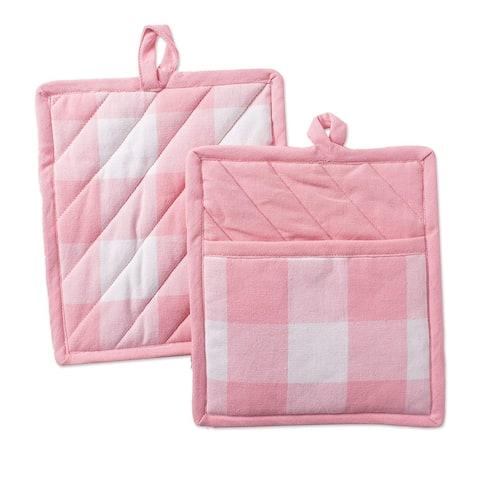 "Set of 2 Pink And White Buffalo Checkered Potholder, 9"""