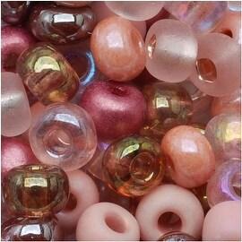 Czech Seed Beads 6/0 'Victorian Rose' Pink Mauve Mix Lot (1 oz)