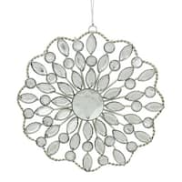 "4.5"" Silver Jeweled Rhinestone Medallion Christmas Ornament"