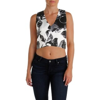Lucy Paris Womens Crop Top Brocade Abstract