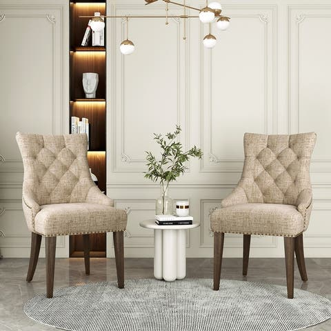 Moda Dining Chair Leisure Padded Chair with Armrest Set of 2 Beige