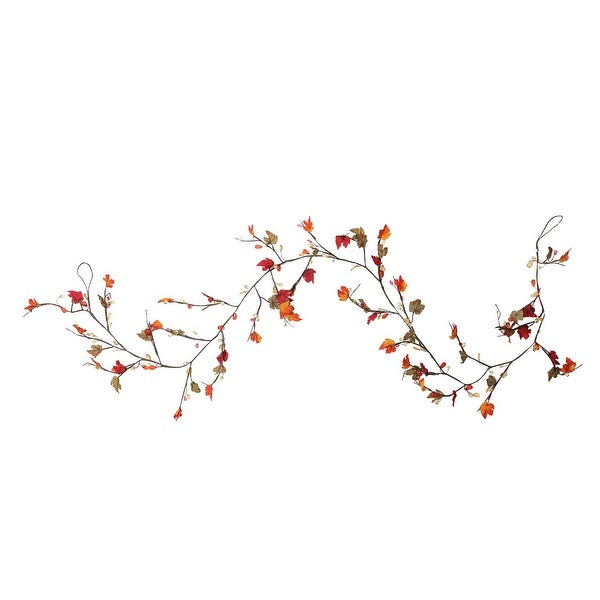 "6"" Artificial Fall Foliage Grape Leaves, Twigs and Beads Autumn Garland - Unlit - brown"