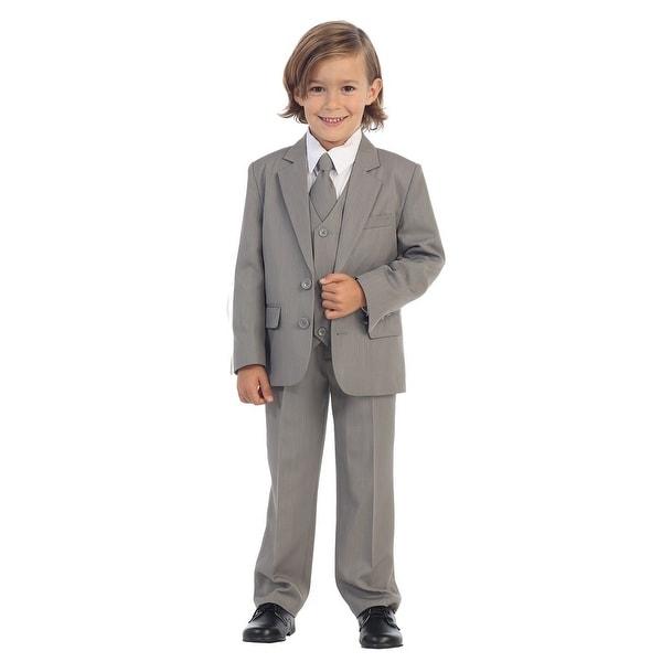 Boys Light Gray Jewels & Gents Jacket Vest Shirt Tie Pants 5 Pc Suit
