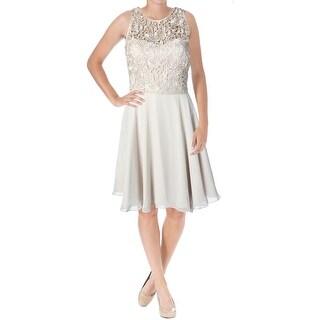 Aidan Mattox Womens Lace Illusion Lined Cocktail Dress