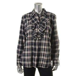 LRL Lauren Jeans Co. Womens Cotton Plaid Button-Down Top - L