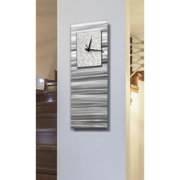 "Statements2000 Silver & White Wall Clock Modern Abstract Art by Jon Allen - Radiance Blanco - 24"" x 9"". Opens flyout."