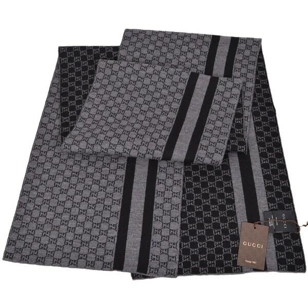 Gucci Men's 438253 Black Grey Wool Web Stripe GG Guccissima Scarf Muffler