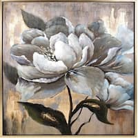 "49.75"" Silver and Nude Brown Hand Painted Peony Dreams Framed Oil Painting - White"