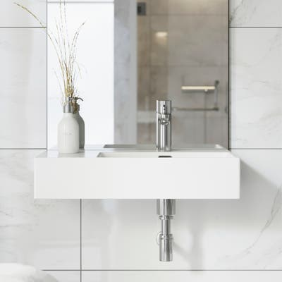 """Swiss Madison SM-WS323 St. Tropez 24"""" x 18"""" Ceramic Wall Hung Sink with Right Side Faucet Mount - 7'9"""" x 9'9"""""""