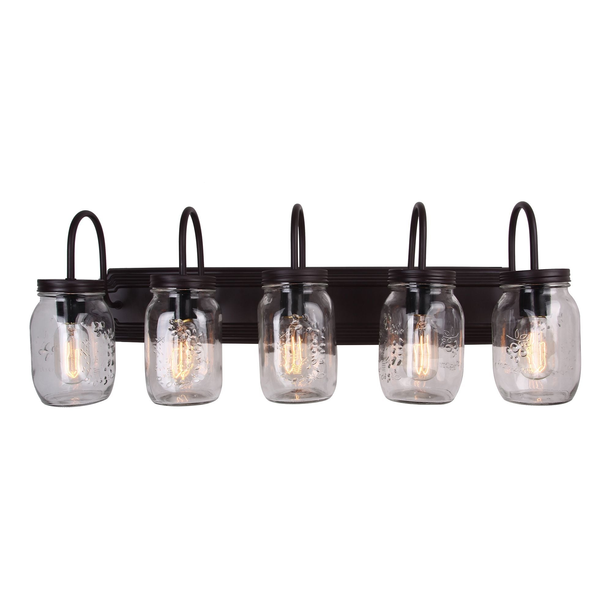 5 Light Mason Jar Vanity Fixture With Gl Shade