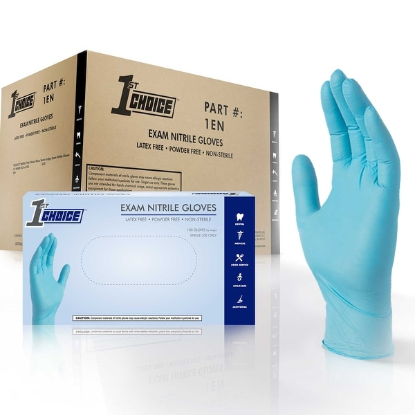 1st Choice Blue Nitrile Exam Latex Free Disposable Gloves (Case of 1000)