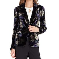 Tahari By ASL Black Purple Womens Size 4 Velvet One-Button Blazer